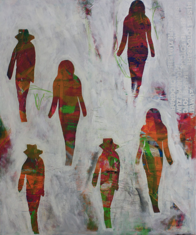 -AUFBRUCH- Acryl auf Leinwand mit Collage - 100cmx100cm