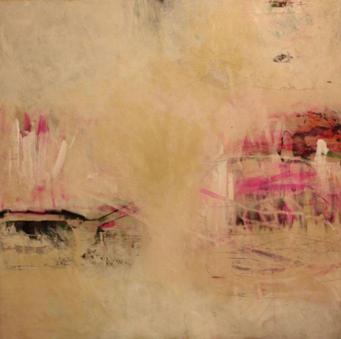-THE FACE- Acryl auf Leinwand mit Collage - 100cmx100cm