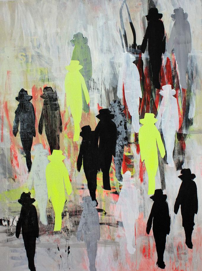 -WORLD IN MOTION- Acryl auf Leinwand mit Collage - 160cmx120cm