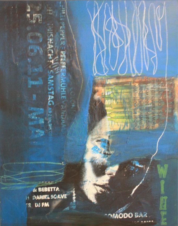 -FESTIVAL- Acryl auf Leinwand mit Collage - 100cmx80cm