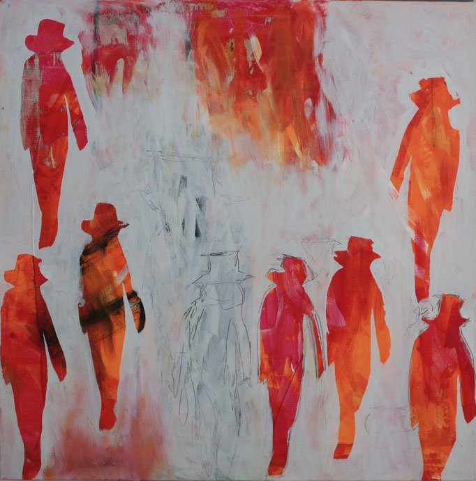 -MENPOWER- Acryl auf Leinwand mit Collage - 100cmx100cm