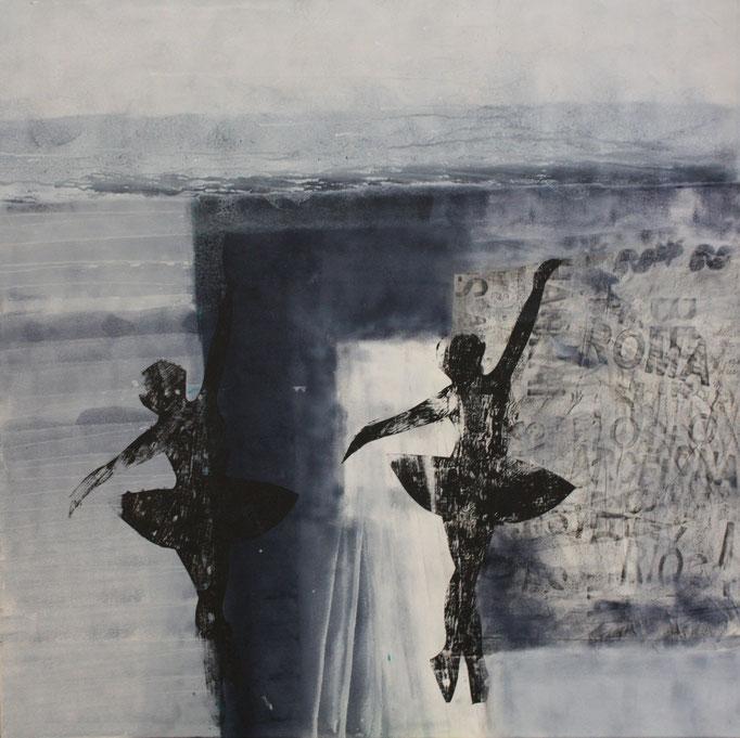 -NN- Acryl auf Leinwand mit Collage - 100cmx100cm