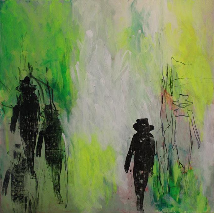 -WALK YOUR WAY 6- Acryl auf Leinwand mit Collage - 100cmx100cm