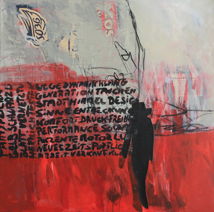 -WORDS-  Acryl auf Leinwand mit Collage - 100cmx100cm