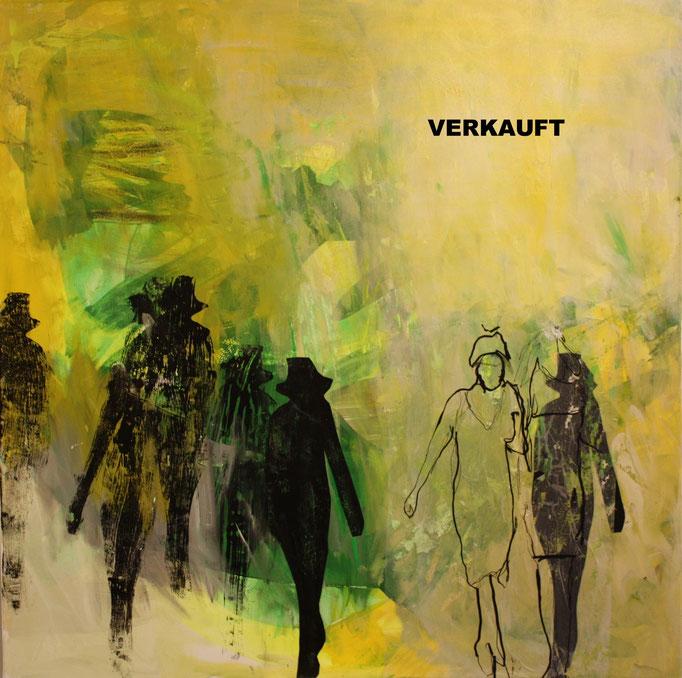 -WALK YOUR WAY 4- Acryl auf Leinwand mit Collage - 100cmx100cm