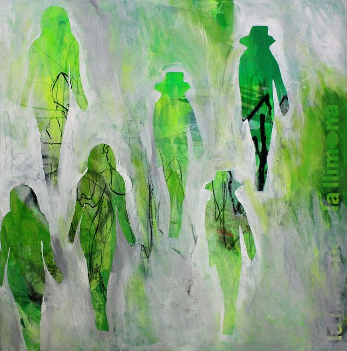 -GREEN PARTY- Acryl auf Leinwand mit Collage - 100cmx100cm