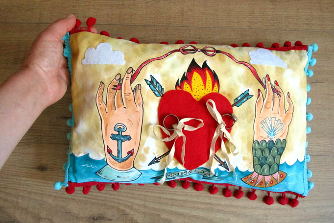 Work on commission - Wedding Pillow - Acrylic on cotton - hand-sewn