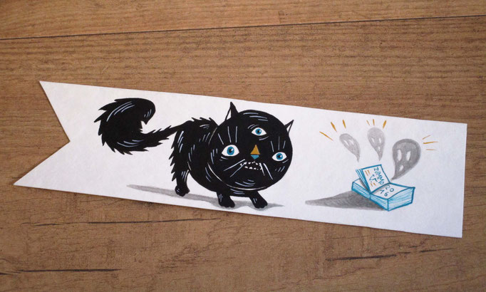 Scared cat Bookmark hand painted - Gatto spaventato segnalibro dipinto a mano