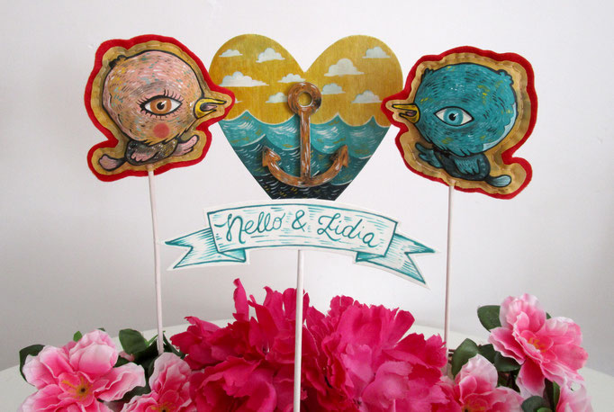 Work on commission - Cake topper - Birds, acrylic on cotton and hand-sewn on felt - Heart and anchor, acrylic on wood - Names, acrylic on paper
