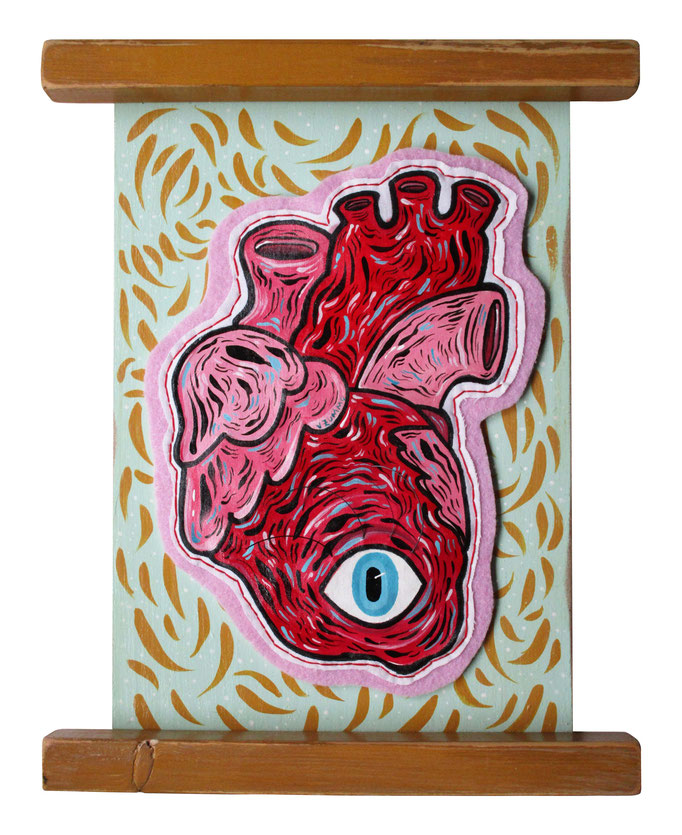 I saw my heart - Acrilico su cotone e legno - 20x14cm - 201