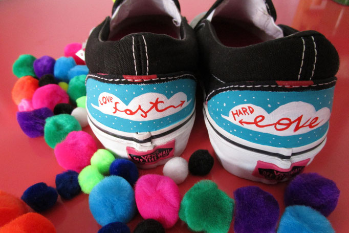 This is my custom vans for a new project to support Mattia Fagnoni onlus (my super hero) More than 30 artists involved to paint a pair of vans slip on to fight rare genetic Disease