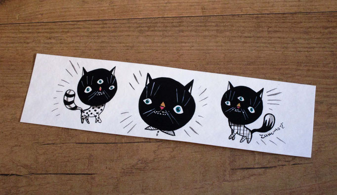 Sold - Three black cats bookmark hand painted - Tre gatti neri segnalibro dipinto a mano
