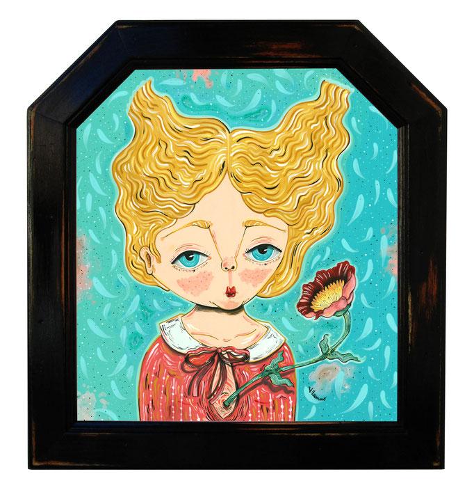 In bloom - Acrylic on wood - 25,7x28,2 cm - Frame 34,2x31,8 cm - 2019