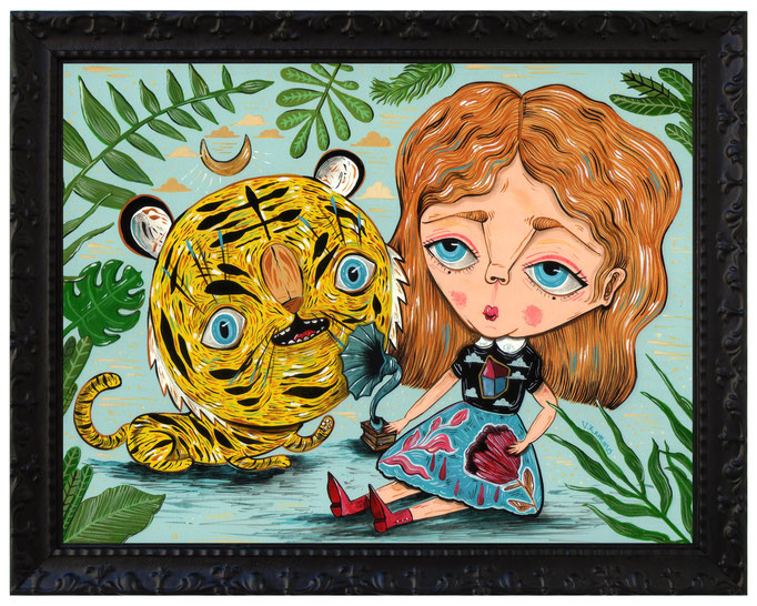 Don't be sad...i'm here! - Acrylic on wood - 25x20 cm - Frame 30x23 cm - 2018