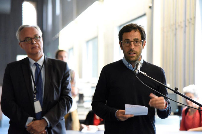 M. Lau - Directeur des ABM et discours d'Olivier Doxaran- Conseiller municipal délégué auprès de Fabien Robert pour la culture.