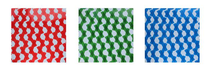 Rythme rouge, vert, bleu, dim. 93cm x 93cm, 2014