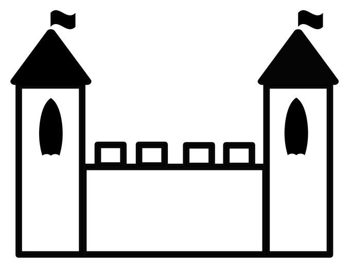Vorlage für Kindergeburtstag Ritterfest - Burg Kontur