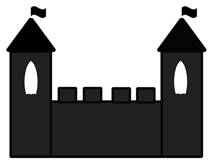 Vorlage für Kindergeburtstag Ritterfest - Burg schwarz