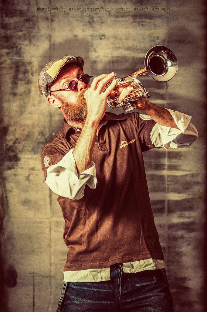 Ein Trompeter in action - Selfie