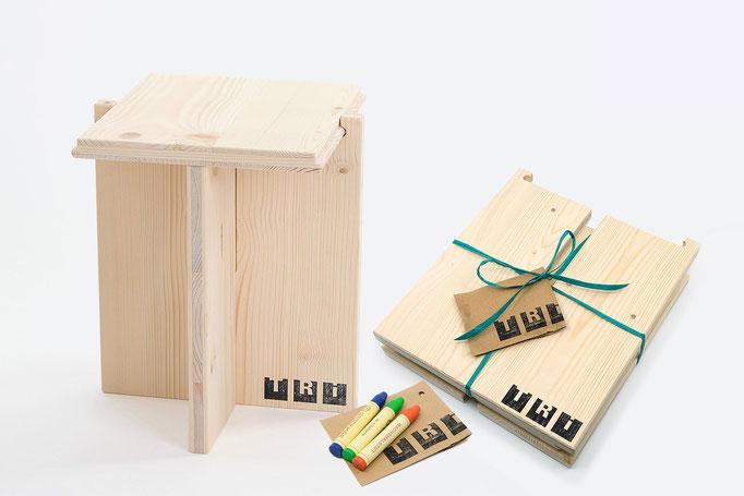 TRI Kinderhocker, 3 Teile, naturbelassen und farbig, Handarbeit. Geschenk & Accessoire