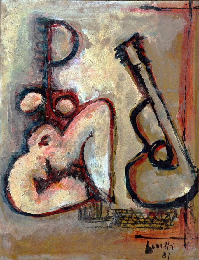 Ascoltando Musica (1981 - Tecnica mista su legno - 24x30)  Collezione Privata – Milano