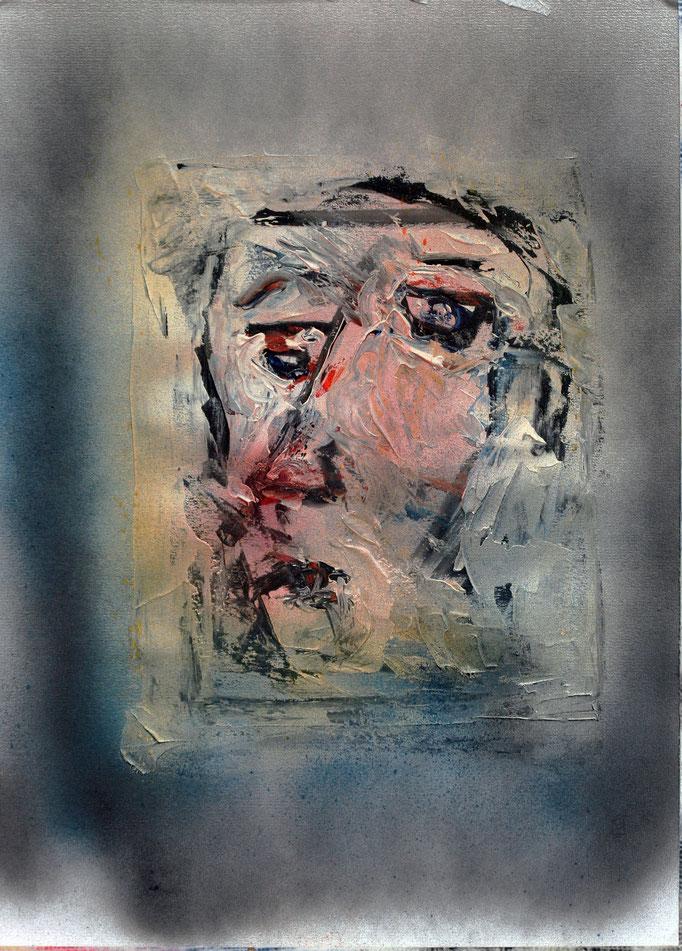Volto in Grigio (2016 - Acrilico su carta - 36x50)