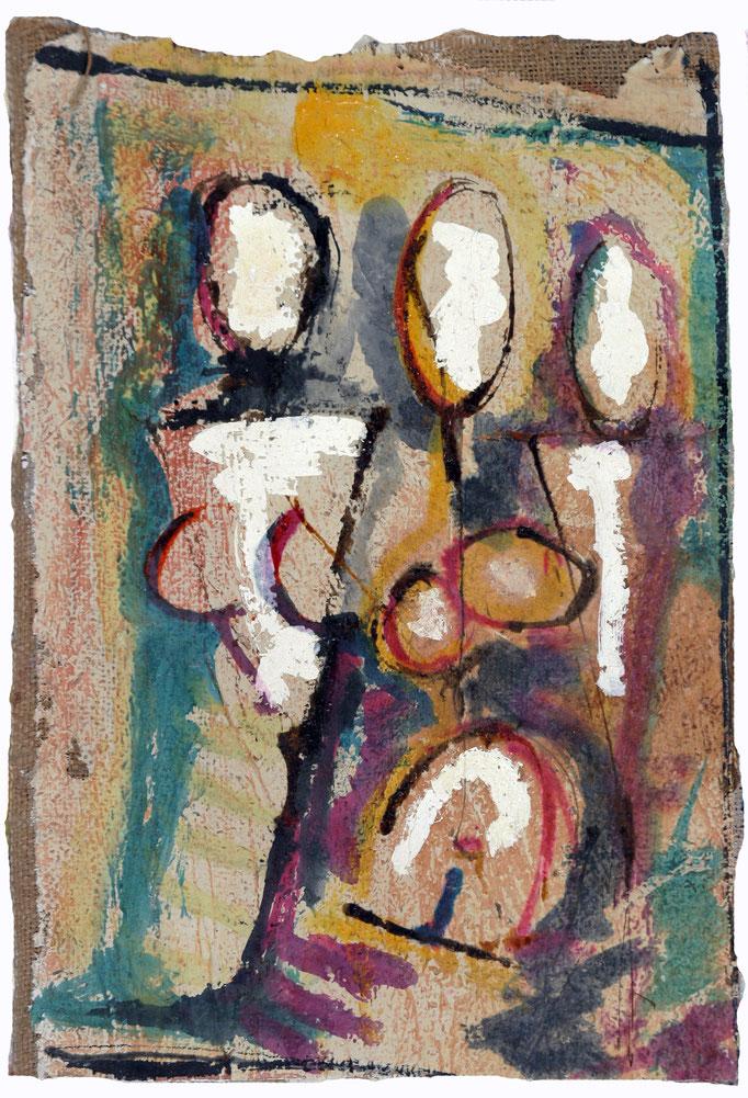 Figure Di Donne (1980 - Olio e tecnica mista su juta - 28,5x41)