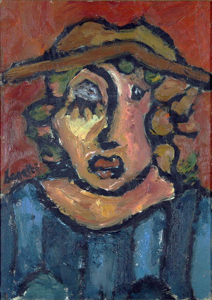 Signora col Cappello (1980 - Olio su tela - 50x70)  Collezione Privata – Milano