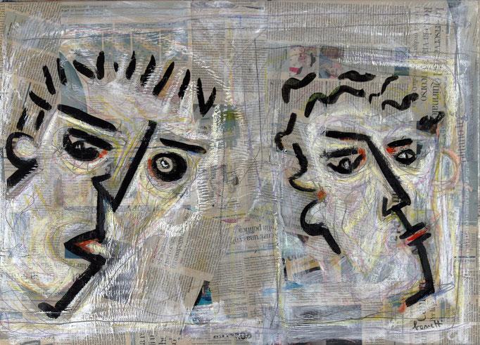 Volti di Figuranti (2015 - Tecnica mista e collage su tela - 50x70)