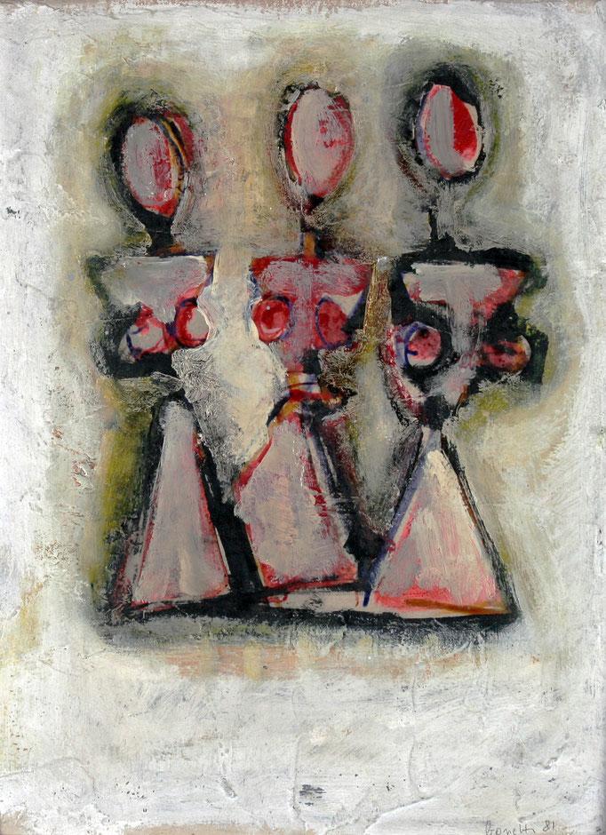 Le Tre Grazie (1979 - Tecnica mista su legno - 38,2x50)