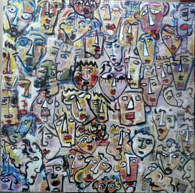 Notizie (2013 - Tecnica mista e collage su tela - 150x150) Collezione Privata - Milano
