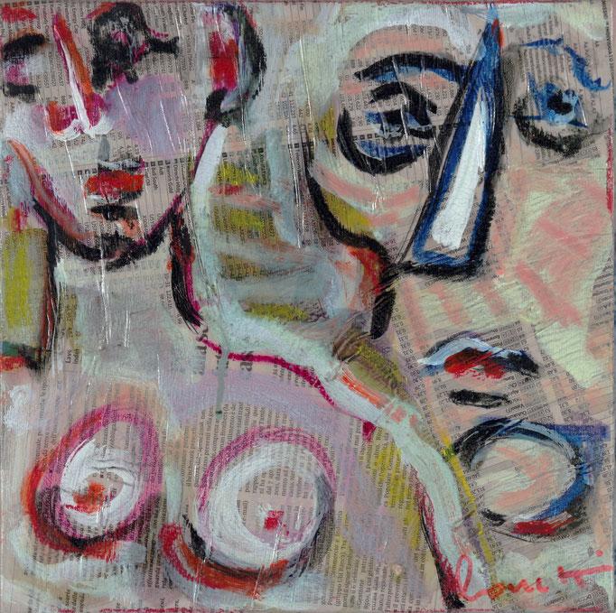 Sogni (2013 - Tecnica mista e collage su tela - 30x30)
