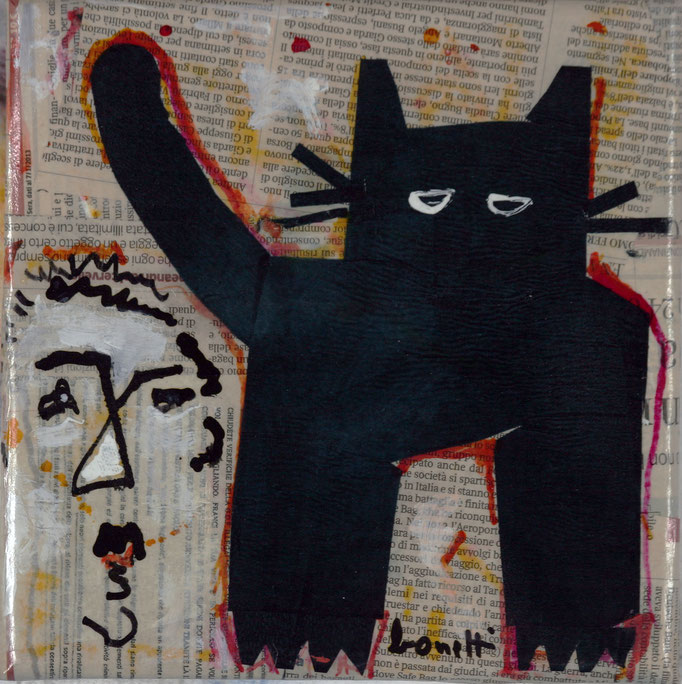 Gatto Nero (2014 - Tecnica mista e collage su tela - 20x20)