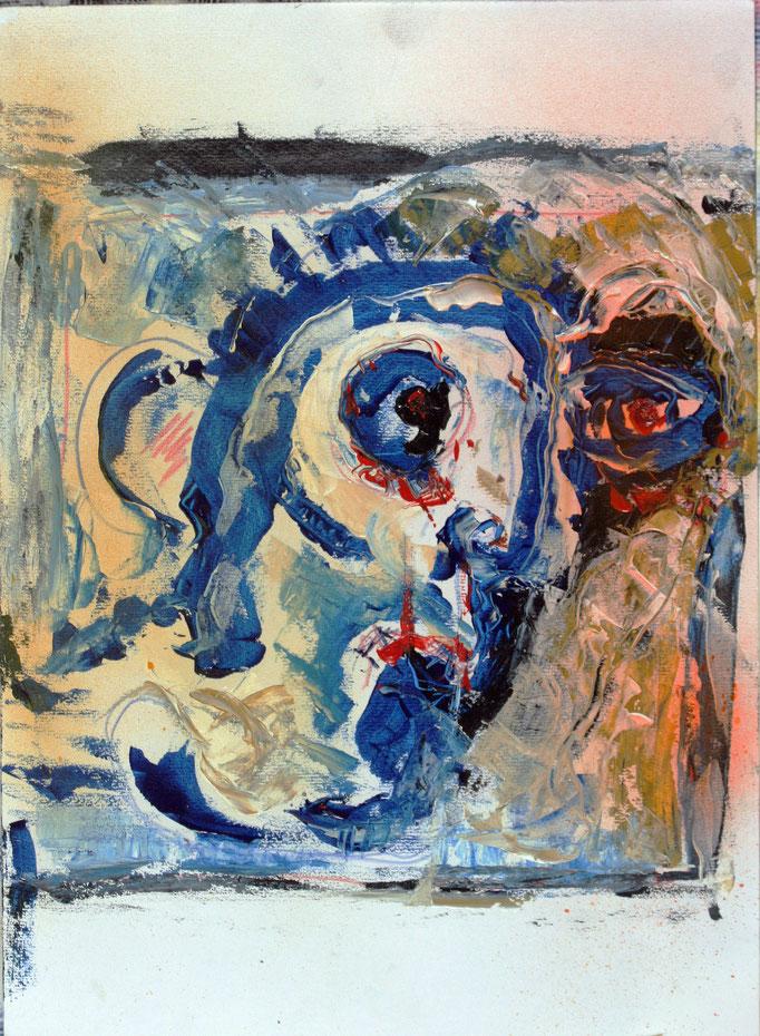 Testa (2016 - Olio su carta - 36x50)