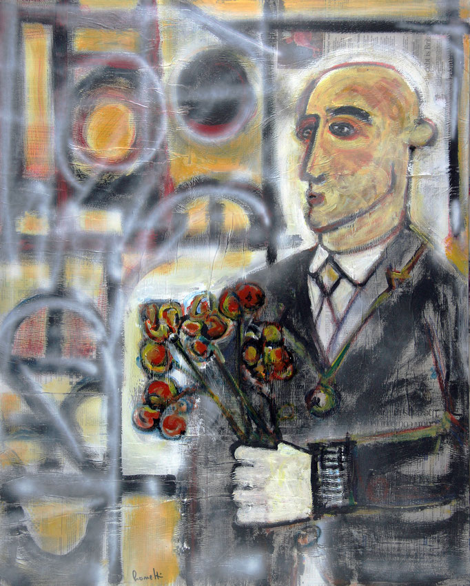 Uomo col Mazzo di Fiori (2015 - Tecnica mista e collage su tela - 80x100)