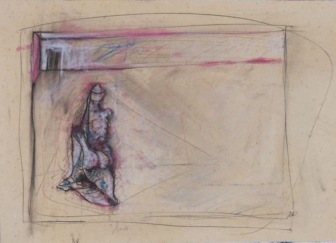 Interno con Figura (1980 - Tecnica mista - 35x50)