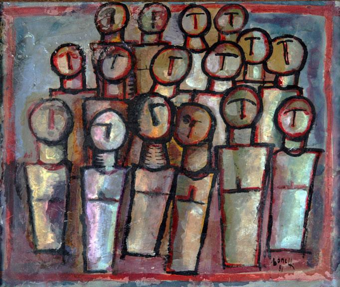 Il Coro (1981 - Tecnica mista su legno - 50x60)  Collezione Privata – Milano
