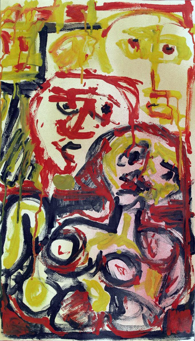Tre Figure (2016 - Acrilico su carta - 40x70)