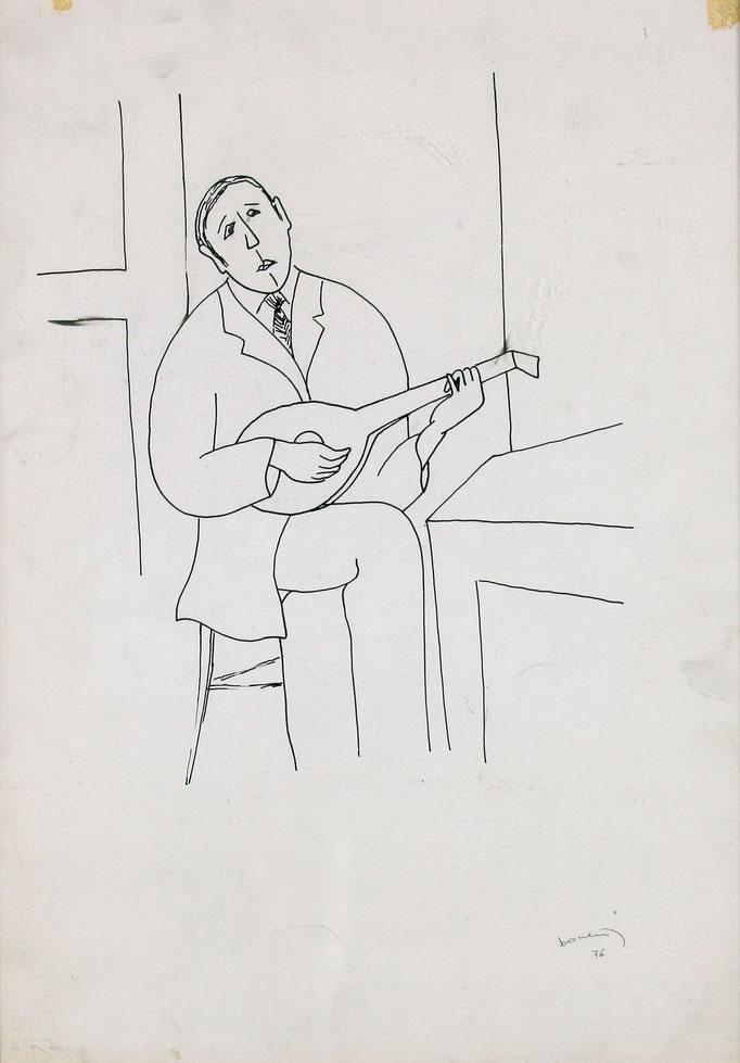Studio Suonatore di Mandolino (1976 - China su carta - 30x40)  Collezione Privata – Milano
