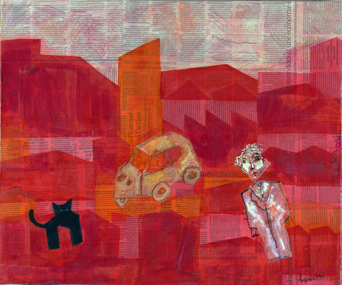 Black Cat in Urban Landscape 2 (2014 - Tecnica mista e collage su tela - 50x60)