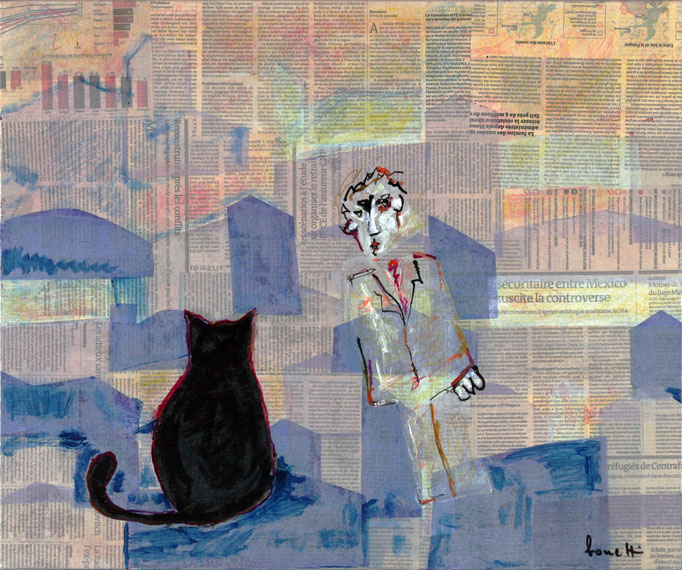 Black Cat in Urban Landscape 1 (2014 - Tecnica mista e collage su tela - 50x60)