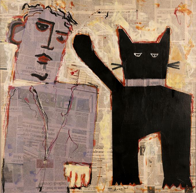 Gatto Nero e Figurante (2014 - Tecnica mista e collage - 80x80)