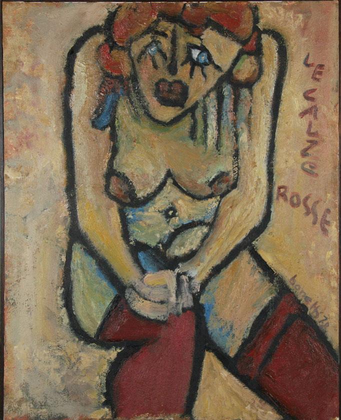 Le Calze Rosse (1978 - Olio su tela - 80x100)  Collezione Privata - Varese
