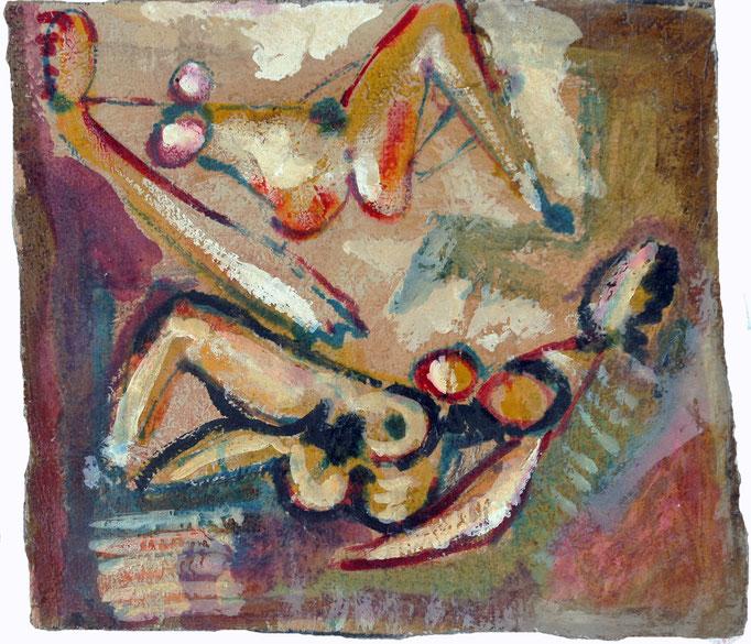 Figure (1980 - Olio e tecnica mista su juta - 35x39)