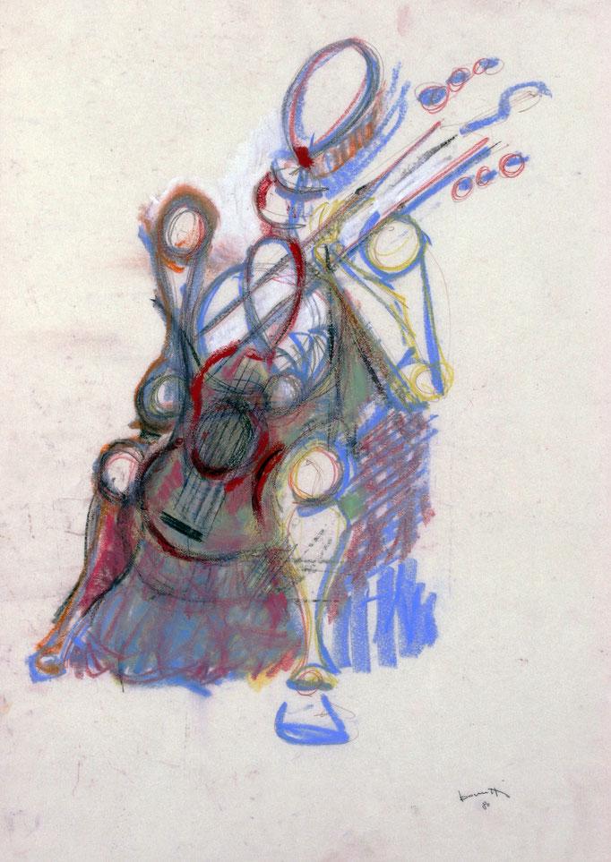 Musicante (1980 - China e pastelli su pergamena - 50x70)  Collezione Privata – Milano