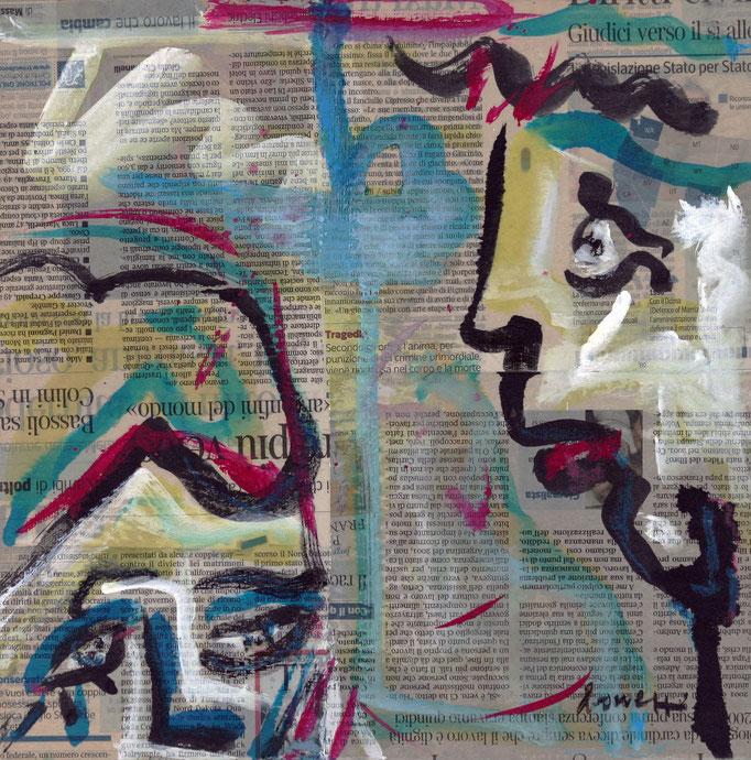 Bugie (2013 - Tecnica mista e collage su tela - 30x30)