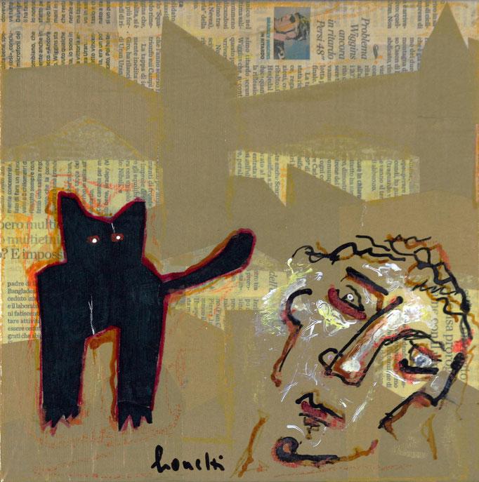 Io e Te (2014 - Tecnica mista e collage su tela - 24x24)