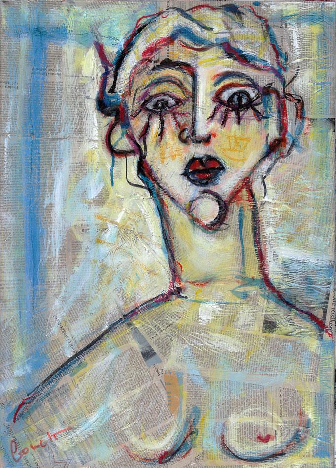 Donna (2013 - Tecnica mista e collage su tela - 50x70)