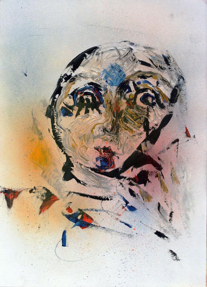 Volto di Donna (2016 - Acrilico su carta - 36x50) Collezione Privata - Laveno
