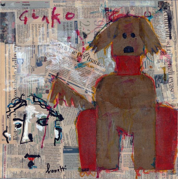 Ginko (2014 - Tecnica mista e collage su tela - 40x40) Collezione Privata - Varese